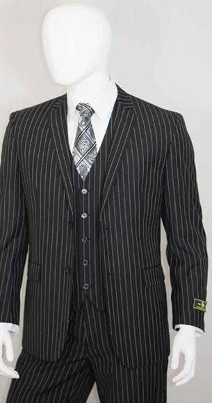 Men's 2 Buttons Bold Chalk White Stripe With Vest 3 Pieces Jet Liquid Black
