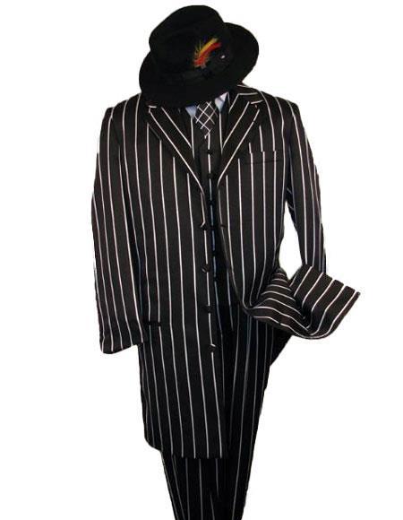 Liquid Jet Black Stripe ~ Pinstripe Fashion Longer Jacket Suits