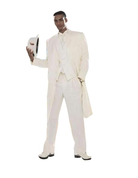 Product# Eric_73P Superior Fabric Stylish Long Off White/Ivory/Cream Fashion Dress Long length Zoot Suit For sale ~ Pachuco Mens Suit ( Jacket and Pants)  For Men 38 Inch Long
