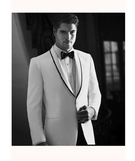 White Tuxedo Dinner Jacket Suit Shawl Collar with Liquid Jet Black trim lapel 1 Button Style + Pants Clearance Sale Online