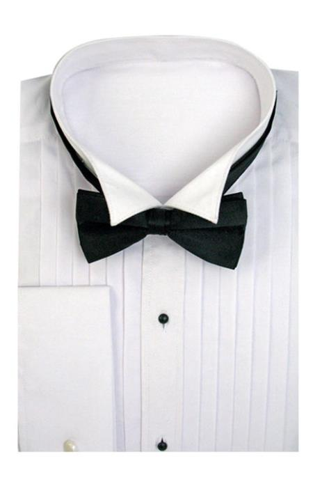 Mens Tuxedo Shirt Dress Shirt Wing Collar with Bow-Tie Set French Cuff White