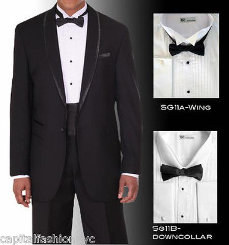 Product# PN_P54 Tuxedo Shirt Winged Tip Down Collar BowTie Set French Cuff White