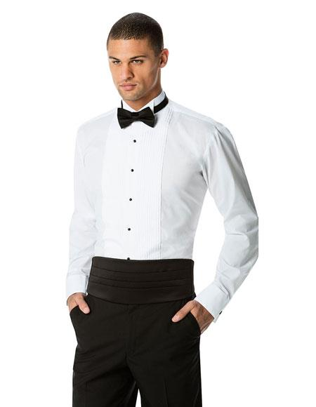 Mens White Pleated White