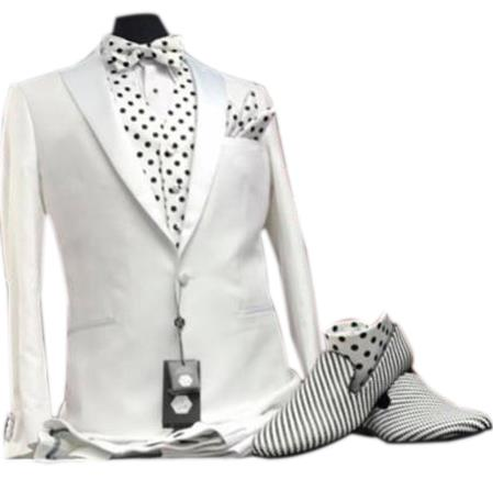 men's Peak Lapel white vested 1920s Tuxedo Style suit paired with striped loafer dress shoes