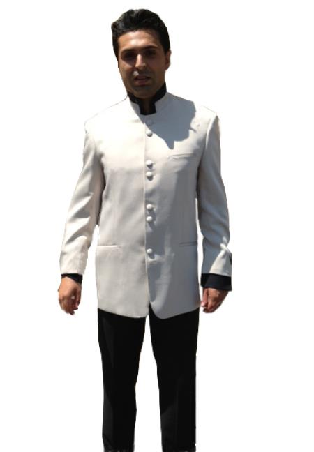 8 Button no collar mandarin Nehru Dinner Jacket Wedding Prom Coat Blazer Online Sale  Perfect For Prom Clothe - Prom Outfits For Guys