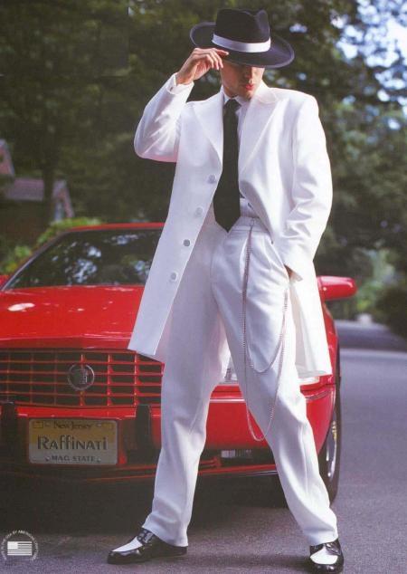 Product# VDB614 White Tuxedo Long length Zoot Suit