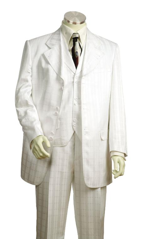 YG7756 Fashionable 3 Piece White Ton on Ton Shadow Stripe Long length Zoot Suit