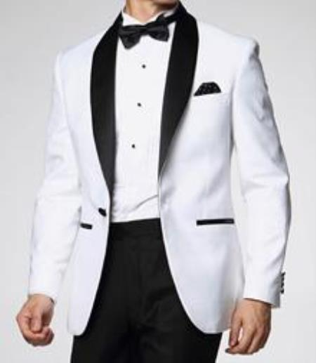 Downtown Pearl White and Liquid Jet Black formal tux Jacket