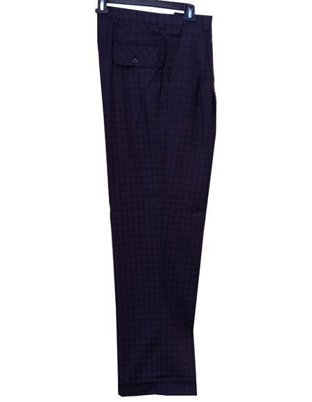 men's 1920s 40s Fashion Clothing Look ! Real Window Pane ~ Plaid Eggplant Wide Leg Pants