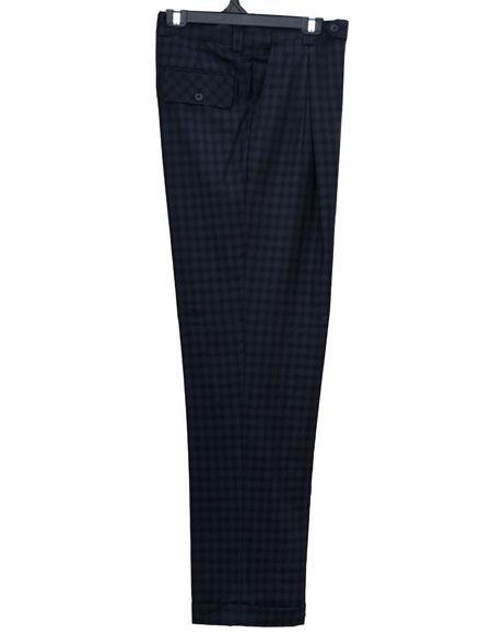 men's 1920s 40s Fashion Clothing Look ! Real Window Pane ~ Plaid Wide Leg Pants Blue