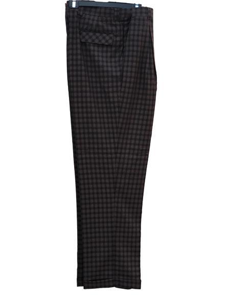men's 1920s 40s Fashion Clothing Look ! Brown Real Window Pane ~ Plaid Wide Leg Pants