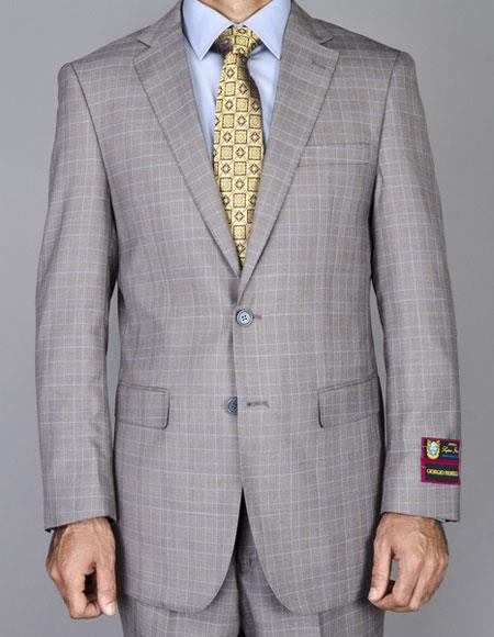 JSM-6460 Men's Windowpane Single Breasted Authentic Giorgio