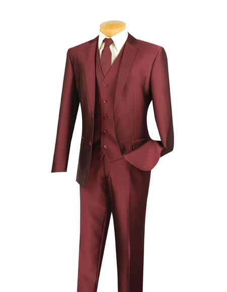 Mens 2 Buttons Wine