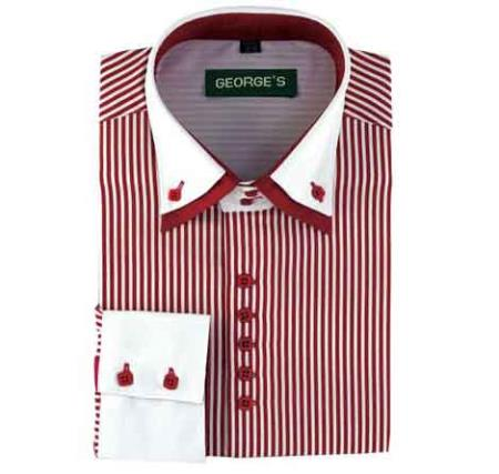 Product# SM484 Wine Standard Cuff Long Sleeve Two Tone Striped Dress Shirt White Collared Contrast