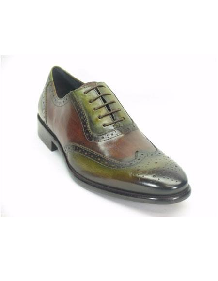 Mens Green Dress Shoes Mens Wingtip Hand Paint Medallion Oxford Olive/Brown Lace Up 1920s style fashion men's shoes
