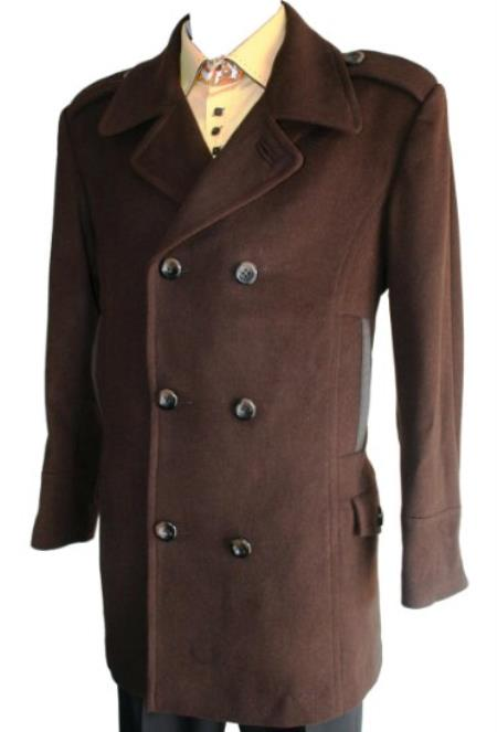 Product# KT36 Peacoat Wool Fabric Blend Double Breasted 6 Button brown color shade Available in Big and Tall Sizes