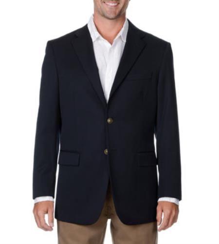 Product# RM1860 Wool Fabric Big & Tall Long Gabardine Blazer Online Sale Navy