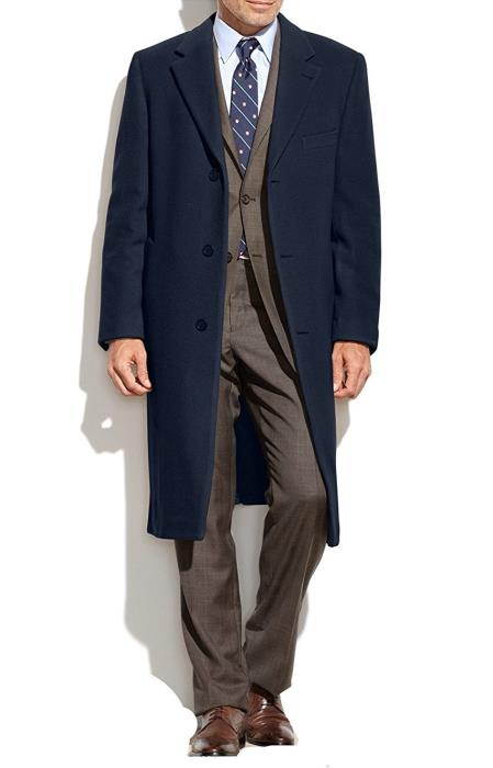 Product# SM4766 Designer Brand Men's Topcoat Wool Cashmere Blend Columbia Overcoat Navy