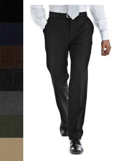 Product# RTB154 Pure New Worsted Wool Fabric Flat Front Slacks in All Sizes and Colors