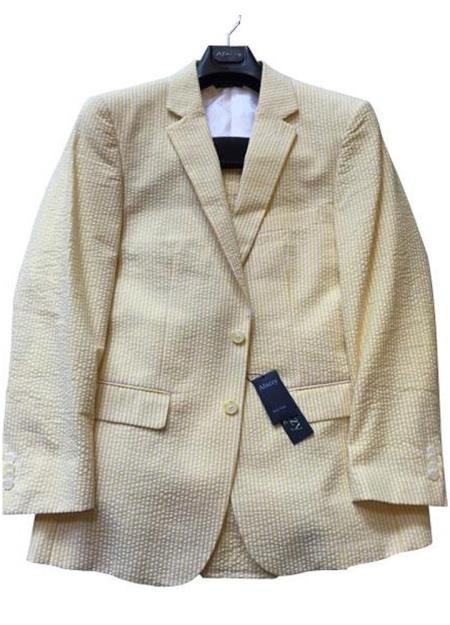 Seersucker Suit mens Modern Fit Striped Cotton Blend Cheap priced men's Seersucker Suit Sale Yellow Suit ( Jacket and Pants)  For Men