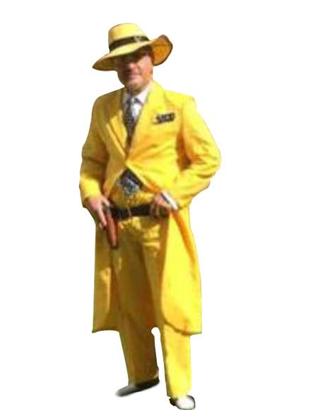 Men's Single Breasted Solid Yellow Zoot Suit