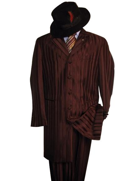 Shiny Flashy brown color shade And brown color shade Stripe ~ Pinstripe tone on tone Shadow Stripe ~ Pinstripe Fashion Dress Long length Zoot Boys And Men Suit for Online