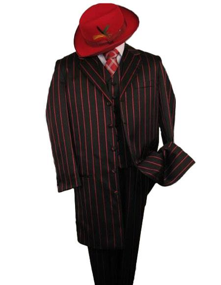 Liquid Jet Black W/Red Pinstripe & pronounce visible Pronounce 3PC Fashion Long length Zoot Suit For sale ~ Pachuco men's Suit Perfect for Wedding