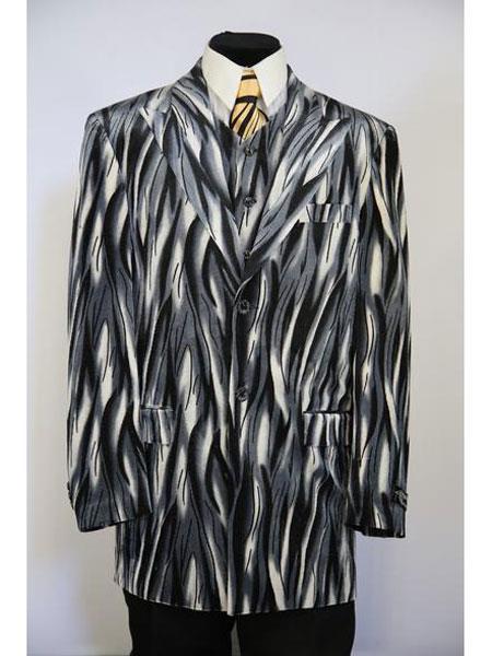 men's Peak Lapel 3pc vested Flames designed zoot suit Grey