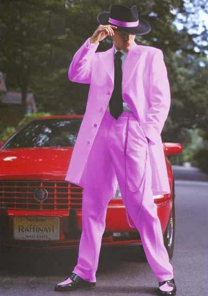 Product# JSM-2947 Men's Front Button Closure Light Pink Notch Collar Side Vent Long Zoot Suit For sale ~ Pachuco Mens Suit Perfect for Wedding