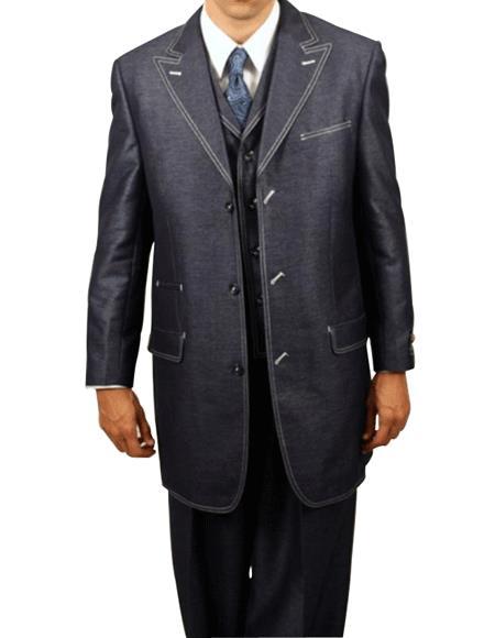 Navy Denim Look 3PC Fashion Long length Zoot Suit For sale ~ Pachuco men's Suit Perfect for Wedding