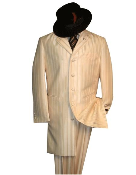 Shiny Flashy Ivory~OFF White~Cream tone on tone Shadow Stripe ~ Pinstripe Fashion Long length Zoot Suit ( Jacket and Pants)  For Men For sale ~ Pachuco men's Suit Perfect for Wedding