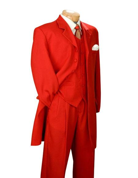 Fashionable Fire Engine Mens Red Suit Color Shade Long length Zoot Suits for Online