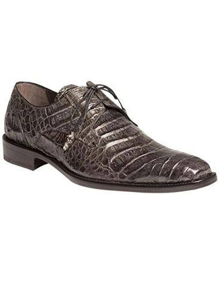 Product# JSM-5996 Men's Mezlan Sleek Style Gray Full Crocodile Lace Up Shoes