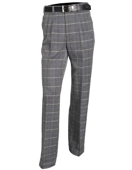 Product# JSM-5376 Mens Gray Microfiber Poly/Rayon Double Pleat Plaid Pattern Dress Pants