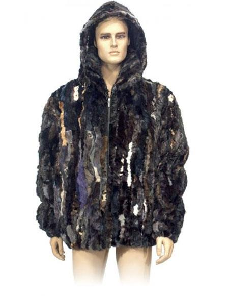 Mens Fur Multi-Color Genuine