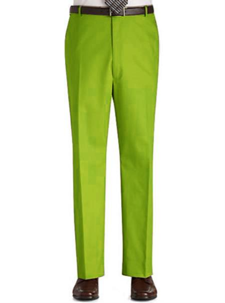 Product# UJ88 Stage Party Pants Trousers Flat Front Regular Rise Slacks - lime mint Green ~ Apple ~ Neon Bright Green