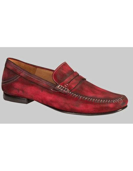 Mens Red Antiqued Italian
