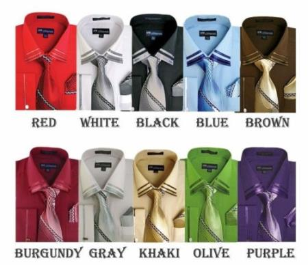 Product# PN94 French Cuff Dress Shirt With Tie And Handkerchief Style Multi-Color