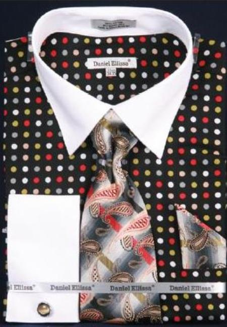Product# AC-500 Multi Polka Dot Dress Fashion Shirt/ Tie / Hanky Set With Free Cufflinks Black/Green