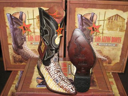 Product# JS637 Authentic Los altos Natural Genuine Crocodile ~ Alligator skin Tail Western Cowboy Boot