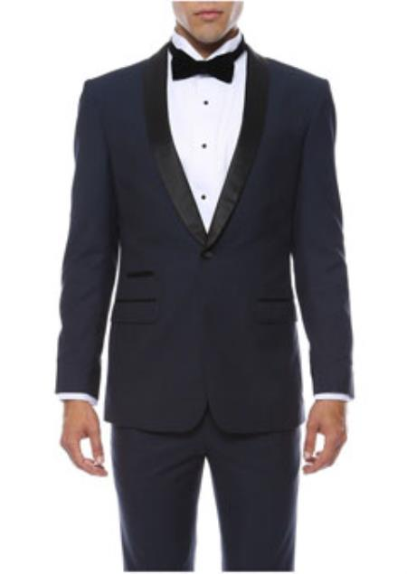 Navy 1-Button Shawl Tuxedo
