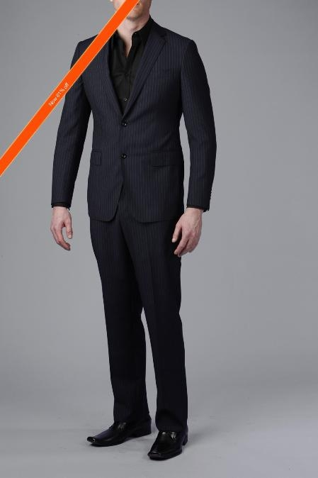 Product# NV8200 Gorgeous Navy Blue Shade Beaded Stripe ~ Pinstripe 2-Button Slim narrow Style Fitted Suit