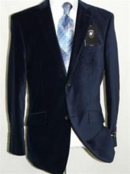 Product# IT5546 Velvet Navy Blue Shade Sport Coat Blazer Online Sale By Giorgio Cosani
