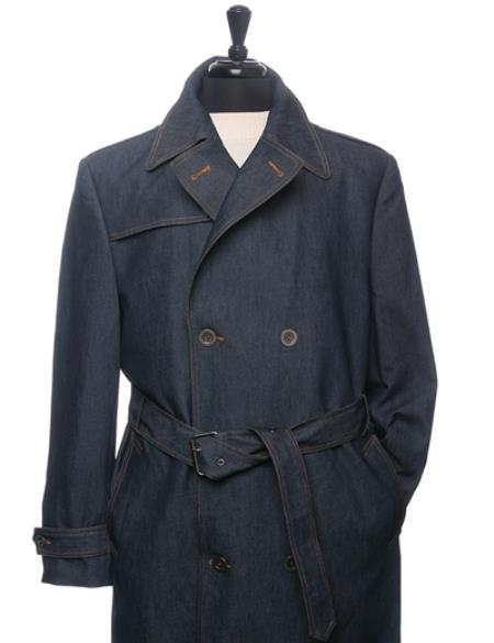 Product# PN78 Denim Trench Coat In Navy Blue Shade Double breasted