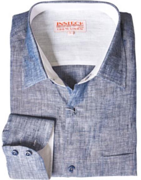 Product# RM1826 Navy Blue Shade Linen Dress Shirt Online Sale
