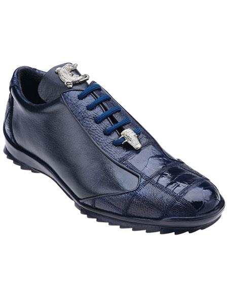 Product# JSM-4374 Men's Belvedere Paulo Genuine Ostrich / Soft Calfskin Navy Blue Casual Sneakers