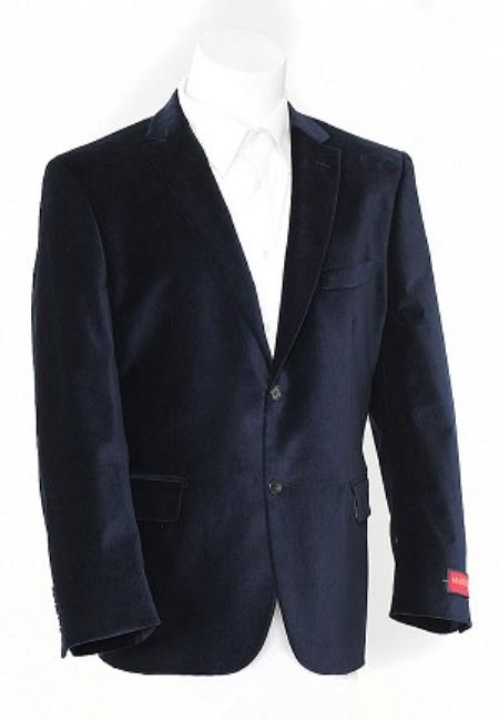 Navy Blue Shade 2 Button Style Velvet Sports Jacket