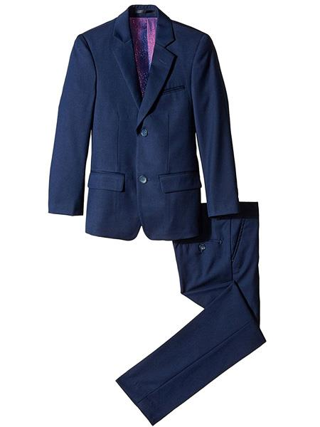 Product# JSM-3884 kids children Boys' Slim Linen/Cotton Notch Lapel 2 Piece Cut Navy Boys And Men Suit