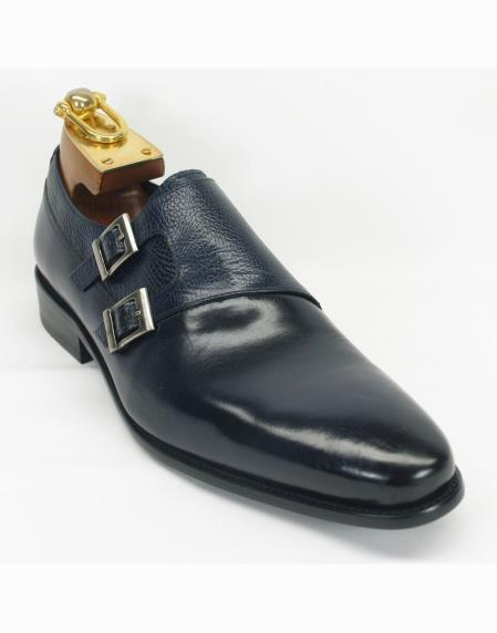 Mens Navy Leather Fashionable