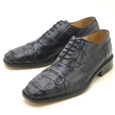 Product# KAL225 Oxfords Navy Croc & Ostrich Lace-Up